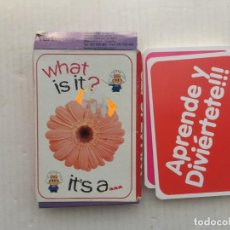 Jeux de cartes: WHAT IS IT ITS A JUEGO DE CARTAS NAIPES EDUCATIVO INFANTIL APRENDER INGLES KREATEN. Lote 220104658