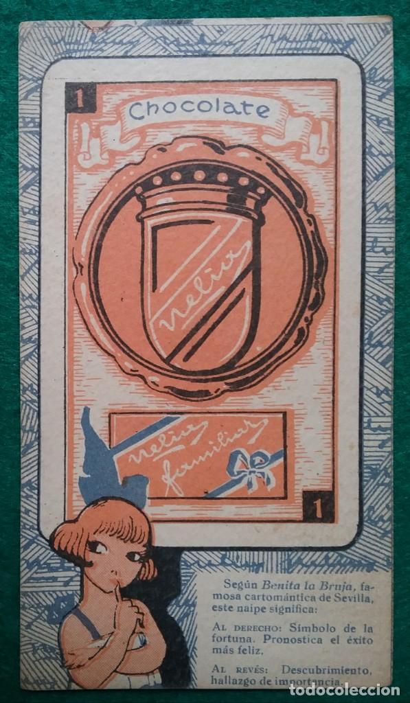 Barajas de cartas: TAROT CARTOMANCIA NAIPES JUEGO DE CARTAS BENITA LA BRUJA PUBLICIDAD CHOCOLATE NELIA CIRCA 1920 - Foto 6 - 220236242