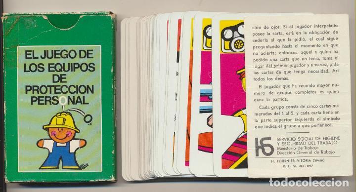 BARAJA EL JUEGO DE LOS EQUIPOS DE PROTECCIÓN PERSONAL. 40 CARTAS (FALTAN 2 CARTAS) . FOURNIER 1977 (Juguetes y Juegos - Cartas y Naipes - Otras Barajas)