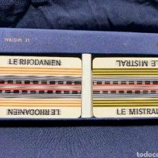 Barajas de cartas: ~LOTE NAIPES CARTAS 2 BARAJAS EN ESTUCHE TRENES FRANCIA SNCF MISTRAL RHODANIEN GRIMAUD CARTES JOUER~. Lote 221526253
