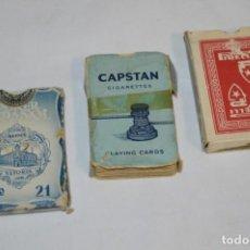 Barajas de cartas: 3 ANTIGUAS BARAJAS / DOS ESPAÑOLAS Y UNA POKER / FOURNIER / COMAS Y CAPSTAN ¡MIRA FOTOS Y DETALLES!. Lote 221701336