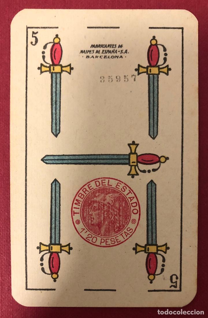 Barajas de cartas: Antigua baraja de naipes de hijo de Torras y Lleo, con timbre de 1,20 pesetas. Perfecto estado. - Foto 4 - 222114695