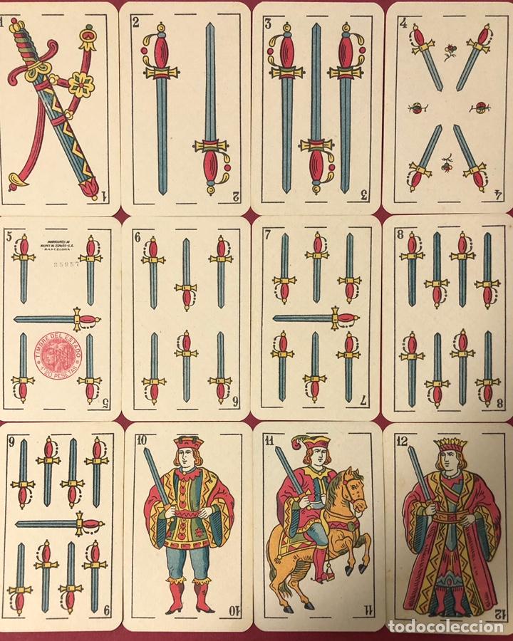 Barajas de cartas: Antigua baraja de naipes de hijo de Torras y Lleo, con timbre de 1,20 pesetas. Perfecto estado. - Foto 5 - 222114695