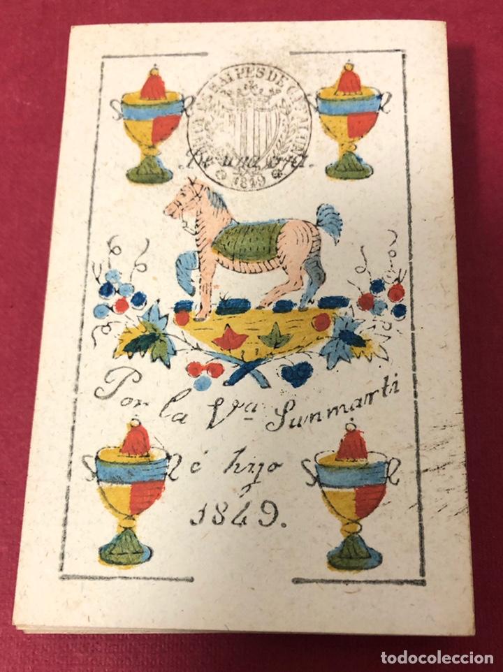 MAGNÍFICA BARAJA DE NAIPES DE 1849, DE VIUDA DE SANMARTI HE HIJO. FLOR DE CUÑO. (Juguetes y Juegos - Cartas y Naipes - Baraja Española)