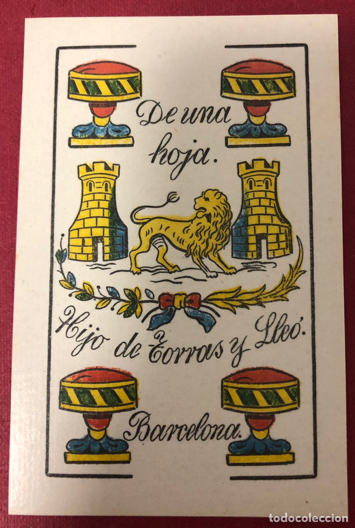 ANTIGUA BARAJA DE NAIPES DE MEDIADOS DE S.XIX, DE HIJO DE TORRAS Y LLEO. FLOR DE CUÑO. (Juguetes y Juegos - Cartas y Naipes - Baraja Española)