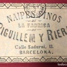Barajas de cartas: ANTIGUA BARAJA DE NAIPES DE FINALES DE S.XIX, DE PIGUILLEM Y RIERA. ENVOLTORIO ORIGINAL SIN ABRIR.. Lote 222120920