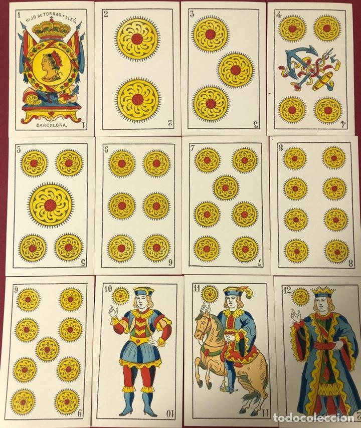 Barajas de cartas: Fantástica baraja de naipes de finales de S.XIX, de Torras y Lleo. Flor de cuño. - Foto 5 - 222123486