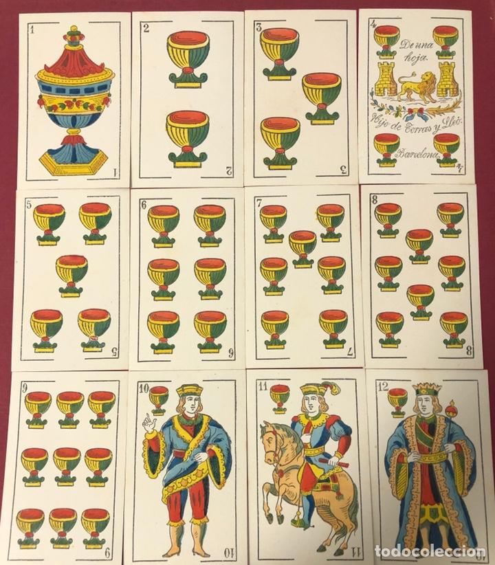 Barajas de cartas: Fantástica baraja de naipes de finales de S.XIX, de Torras y Lleo. Flor de cuño. - Foto 6 - 222123486