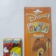 Barajas de cartas: 2 BARAJAS DE CARTAS FOURNIER · DISNEY · BAMBI · MICKEY MOUSE JUST BOY · NUEVOS. Lote 222584450