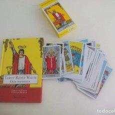 Barajas de cartas: BARAJA DE TAROT RIDER WAITE 78 CARTAS COMPLETA + LIBRO GUIA DEFINITIVA, JOHANNES FIEBIG. Lote 222839490