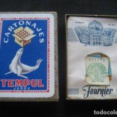 Jeux de cartes: BARAJA POKER FOURNIER. PUBLICIDAD. CARTONAJES TEMPUL JEREZ. TIMBRE 1,50 PTS.. Lote 224393330