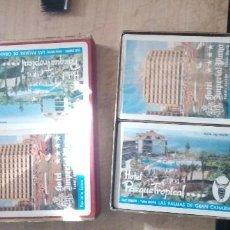 Barajas de cartas: ANTIGUO ESTUCHE CON DOS BARAJAS DE POKER PROMOCIONAL DE 1974 DE HOTELES DE GRAN CANARIA. Lote 225269753