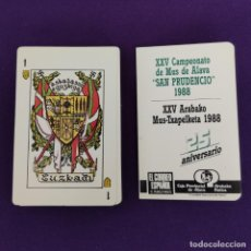 Barajas de cartas: BARAJA DE CARTAS ESPAÑOLA. BARAJA VASCA. CAMPEONATO DE MUS DE ALAVA SAN PRUDENCIO 1988. COMPLETA.. Lote 225302555