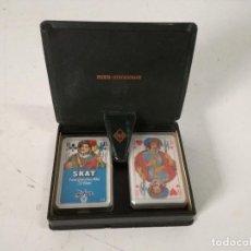 Baralhos de cartas: ESTUCHE CON DOS BARAJAS DE CARTAS COMPLETAS. Lote 225353910
