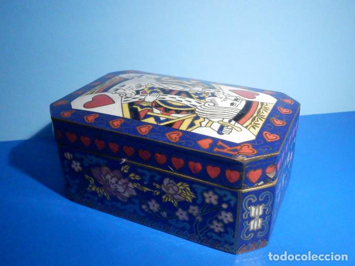 PRECIOSA CAJA METÁLICA PARA BARAJA DE CARTAS - ESMALTADA AL HORNO POR DENTRO Y FUERA - MUY BONITA (Juguetes y Juegos - Cartas y Naipes - Barajas de Póker)