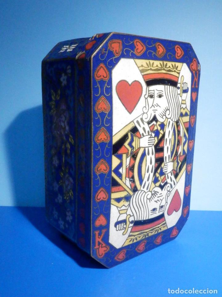 Barajas de cartas: Preciosa caja metálica para Baraja de Cartas - Esmaltada al horno por dentro y fuera - Muy bonita - Foto 2 - 226395790