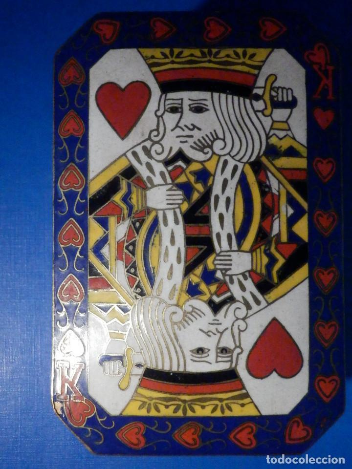 Barajas de cartas: Preciosa caja metálica para Baraja de Cartas - Esmaltada al horno por dentro y fuera - Muy bonita - Foto 4 - 226395790