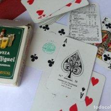 Jeux de cartes: BARAJA DE CARTAS ESPAÑOLA FOURNIER. CERVEZA SAN MIGUEL. PILSENER CRISTAL. TIMBRE SOBRE NAIPES 3 PTAS. Lote 226904760