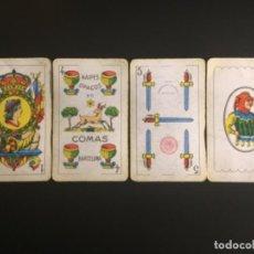 Barajas de cartas: NAIPES BARAJAS COMAS 4 COPAS EL CIERVO 40 AZUL 5 ESPADAS TIMBRE ROJO COMPLETA 50 CARTAS. Lote 229570760