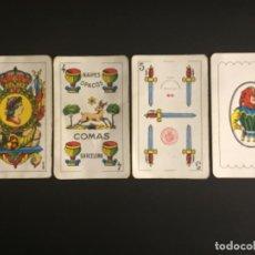 Barajas de cartas: NAIPES BARAJAS COMAS 4 COPAS EL CIERVO 5 ESPADAS TIMBRE ROJO NUMERO 40 ROJO 42 CARTAS. Lote 229572350