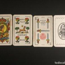 Barajas de cartas: NAIPES BARAJAS COMAS 4 COPAS EL CIERVO 5 ESPADAS TIMBRE ROJO NUMERO 40 AZUL COMPLETA 50 CARTAS. Lote 229574790