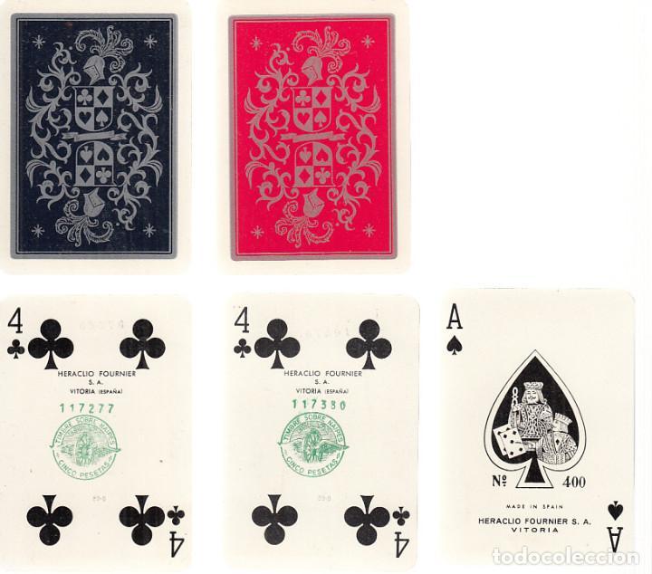 DOBLE BARAJA CARTAS PÓKER Nº400. FOURNIER. COMPLETAS. CONTIENEN ESTUCHE DE PIEL. (Juguetes y Juegos - Cartas y Naipes - Barajas de Póker)