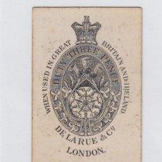 Barajas de cartas: DE LA RUE & Cº. LONDON. BARAJA INCOMPLETA ( 29 DE 52 CARTAS ). AÑO 1.860.. Lote 233580960