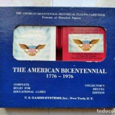Barajas de cartas: THE AMERICAN BICENTENNIAL 1776-1976 PLAYING CARD. BARAJA DE 54 CARTAS + LIBRO EXPLICATIVO. NEW YORK. Lote 234498085