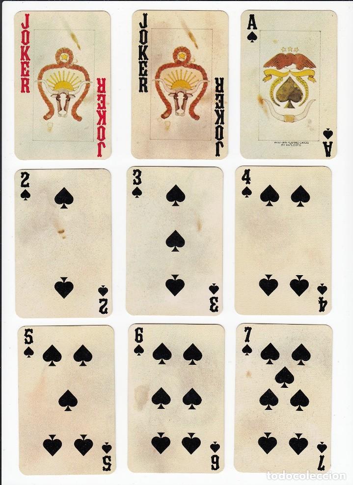 Barajas de cartas: Marlboro. Tabaco.Baraja publicitaria de poker de 54 cartas.Western Playing Cards.U.S.A. Años 50s. - Foto 8 - 235286290