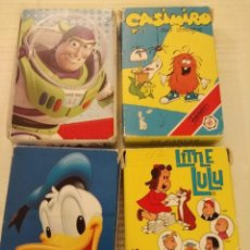 Barajas de cartas: 4 BARAJAS DE CARTAS INFANTILES: TOY STORY, CASIMIRO, DONALD DUCK Y LITTLE LULU. Lote 235356415