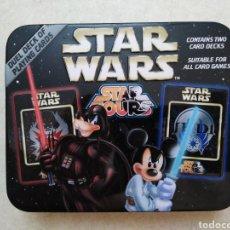Barajas de cartas: STAR WARS ( 2 BARAJAS DE CARTAS COMPLETAS ) LATA METÁLICA. Lote 237960660