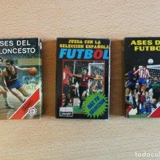 Barajas de cartas: 3 BARAJAS HERACLIO FOURNIER ANTIGUAS:ASES DEL BALONCESTO(ABIERTA, PERFECTA) ASES DEL FUTBOL Y FUTBOL. Lote 248055040