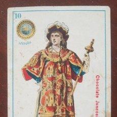 Barajas de cartas: CARTA DE NAIPES 10 DE OROS DE CHOCOLATE JUNCOSA, BARCELONA. Lote 255445165