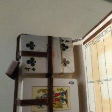 Barajas de cartas: ESTUCHE PÓKER, CON LIBRETA TANTOS, JUEGO NAIPES. 2 BARAJAS. BANCO DE LEVANTE. Lote 260171870