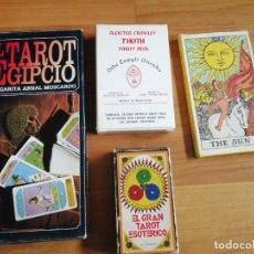 Barajas de cartas: LOTE CUATRO TAROT EGIPCIO GRAN TAROT ESOTÉRICO THOT TAROT DECK GIANT RIDER-WAITE TAROT. Lote 268802654