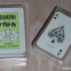 Barajas de cartas: LOTE 2 BARAJAS MINI COMAS PÓKER Y DOMINÓ - EN CAJA Y A ESTRENAR. Lote 268980604