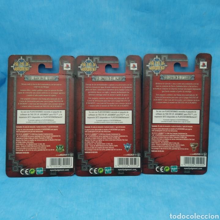 Barajas de cartas: Lote de 3 barajas de cartas SONY PLAYSTATION 3 año 2008 THE EYE OF JUDGMENT - Hasbro - Foto 3 - 275941173