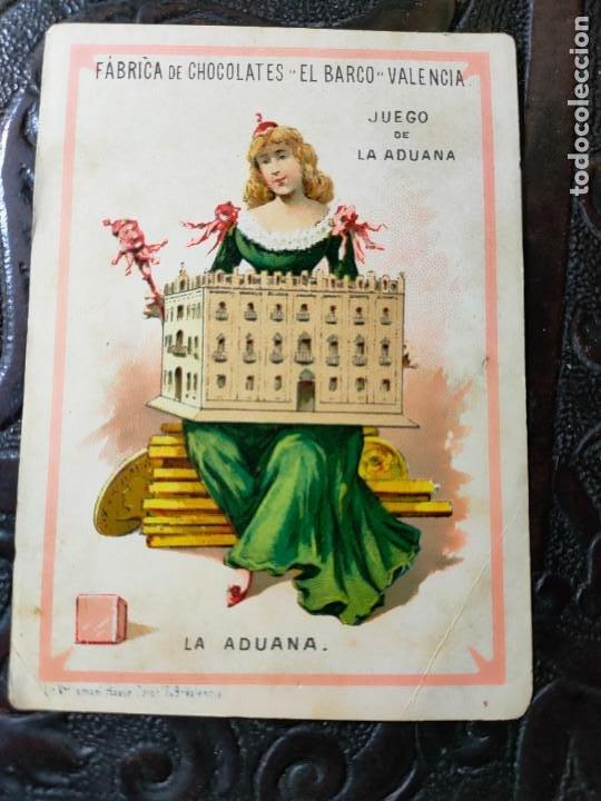 ANTIGUA CARTA O CROMO FÁBRICA DE CHOCOLATES EL BARCO. JUEGO DE LA ADUANA. (Juguetes y Juegos - Cartas y Naipes - Baraja Española)