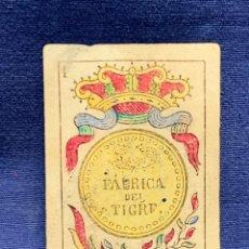Barajas de cartas: BARAJA ESPAÑOLA FABRICA DEL TIGRE 1887 ORIGINAL MENDEZ NUÑEZ CADIZ COMPLETA 9,5X6CMS. Lote 277074118