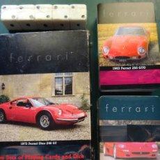 Barajas de cartas: SET 2 BARAJAS DE POKER Y DADOS. FERRARI. COCHES 250 GTO 1963 Y F50 1996. AÑO 2001. 220GR. Lote 295441813