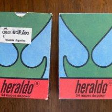Barajas de cartas: DOS BARAJAS DE CARTAS EL HERALDO INDUSTRIA ARGENTINA. NUEVAS SON USO. Lote 295928448