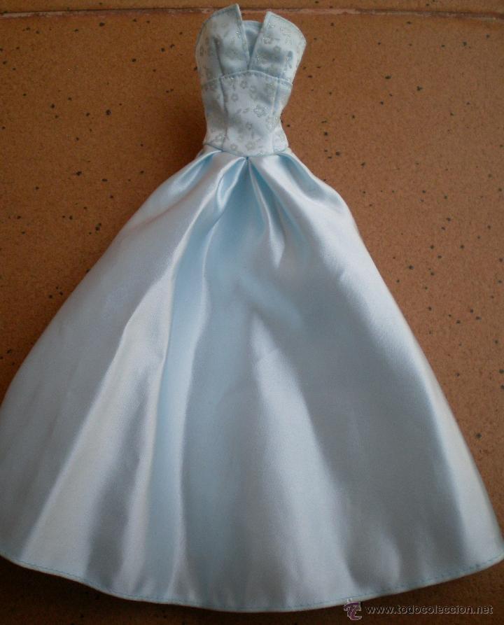 VESTIDO LARGO AZUL DE BARBIE ORIGINAL, CON ETIQUETA FASHION AVENUE (Juguetes - Muñeca Extranjera Moderna - Barbie y Ken - Vestidos y Accesorios)