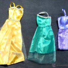 Barbie y Ken: LOTE DE 3 VESTIDOS BARBIE NO ORIGINALES. Lote 52864819