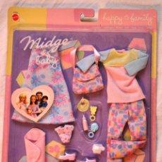 Barbie y Ken: CONJUNTO ROPA BARBIE MIDGE & FAMILY. FAMILIA FELIZ. MATTEL 2002. BARBIE EMBARAZADA [NUEVO]. Lote 67631981