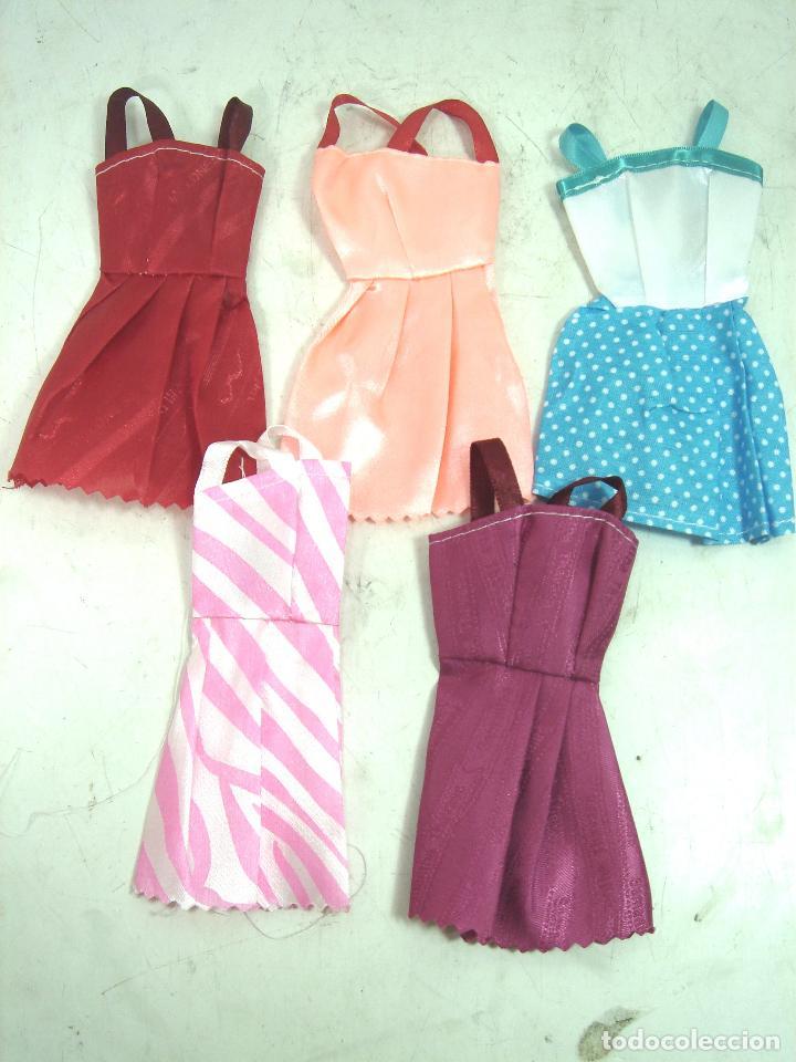 Barbie y Ken: 5X VESTIDOS TELA PLASTICA VERANO -PARA MUÑECA BARBIE - NUEVOS CORTO FALDA VESTIDO CONJUNTO 6 - Foto 2 - 126281143