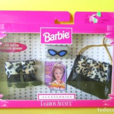 Barbie y Ken: MUÑECA BARBIE MATTEL ACCESORIOS FASHION AVENUE 1998 BLISTER NUEVO LEOPARDO FASHIONISTAS DIORAMA. Lote 142273726