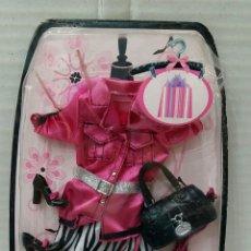 Barbie y Ken: BARBIE VESTIDO FASHION. NUEVO EN BLISTER. MATTEL. 2007. CON TOP, ZAPATOS, BOLSO Y GAFAS.. Lote 202867393