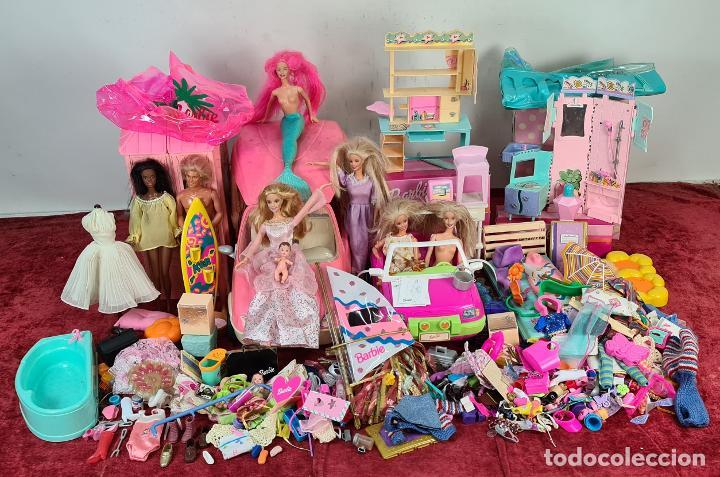 COLECCION DE BARBIE. 6 MUÑECAS Y KENT. INFINIDAD DE ACCESORIOS. MATTEL. AÑOS 90. (Juguetes - Muñeca Extranjera Moderna - Barbie y Ken - Vestidos y Accesorios)