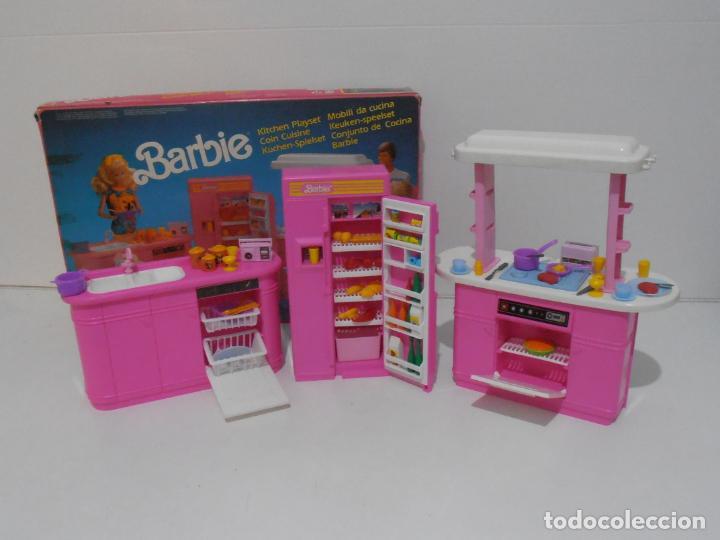 BARBIE CONJUNTO DE COCINA, CAJA ORIGINAL, CASI COMPLETA, MATTEL AÑOS 80, MUY BUEN ESTADO (Juguetes - Muñeca Extranjera Moderna - Barbie y Ken - Vestidos y Accesorios)