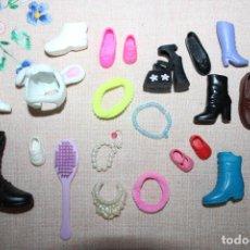 Barbie y Ken: LOTE DE ZAPATOS SIN PAR Y ALGUNOS ACESSORIOS PARA BARBIE/ SHELLY/KEN. Lote 278611513